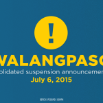 View the complete list of class suspensions for Monday (July 6, 2015): http://t.co/cWdB6nAehf #walangpasok #EgayPH http://t.co/d8xlgMol3A
