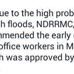 ADVISORY: Early dismissal of Metro Manila government workers today at 3PM. Ten-4. #mmda http://t.co/kE6iAHceWz