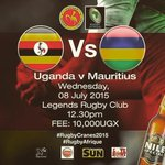Uganda on Wednesday at midday Tell a friend to tell a friend. Come support the #RugbyCranes2015 #RugbyAfrique1B RT http://t.co/XC8sIgAD7x