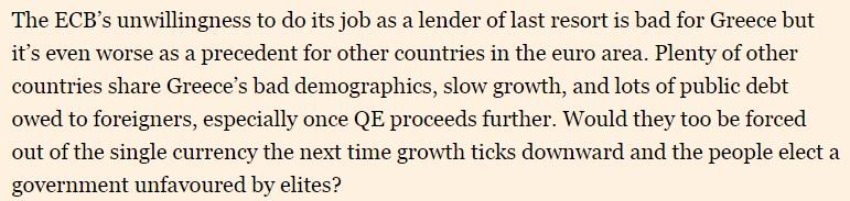 Absolutely killer quote on ECB and Greek banks from @M_C_Klein http://t.co/Wpu0ZB8Ply