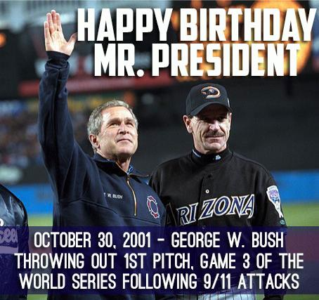 Happy birthday W! I still get chills watching his first pitch at the 01' AZ/NY World Series: