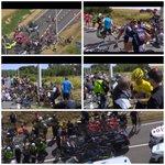 ???? URGENT TDF Enorme chute dans la 3e étape du Tour, dont le Maillot jaune. Abandon du Maillot blanc. Course arrêtée http://t.co/R1cNKEHOVn