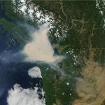 Stunning satellite photo of suffocating smoke dome over #Vancouver #wildfires http://t.co/1D2Qpitchb http://t.co/KanSHoI3MU
