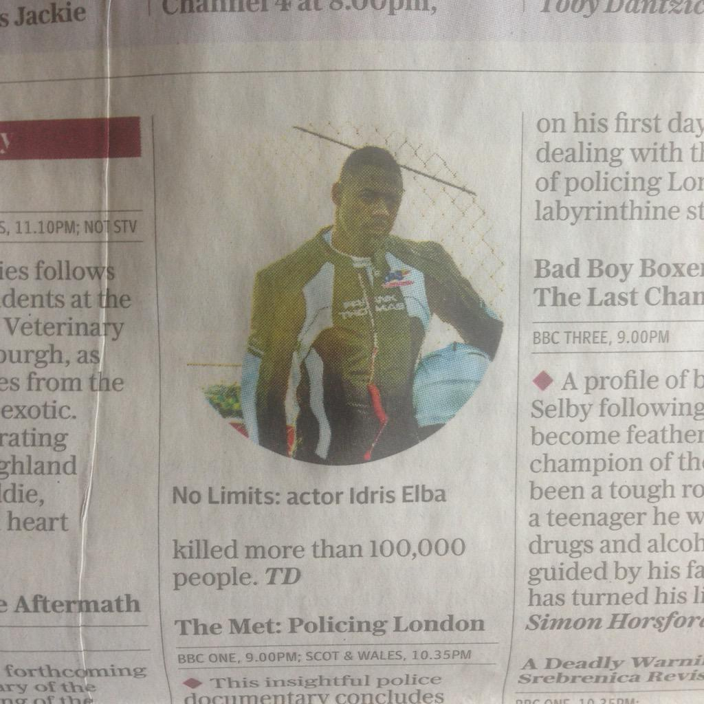.@Telegraph This is an odd layout, at first glance I thought it said @idriselba killed more than 100,000 people. http://t.co/9hqmj9MnR2