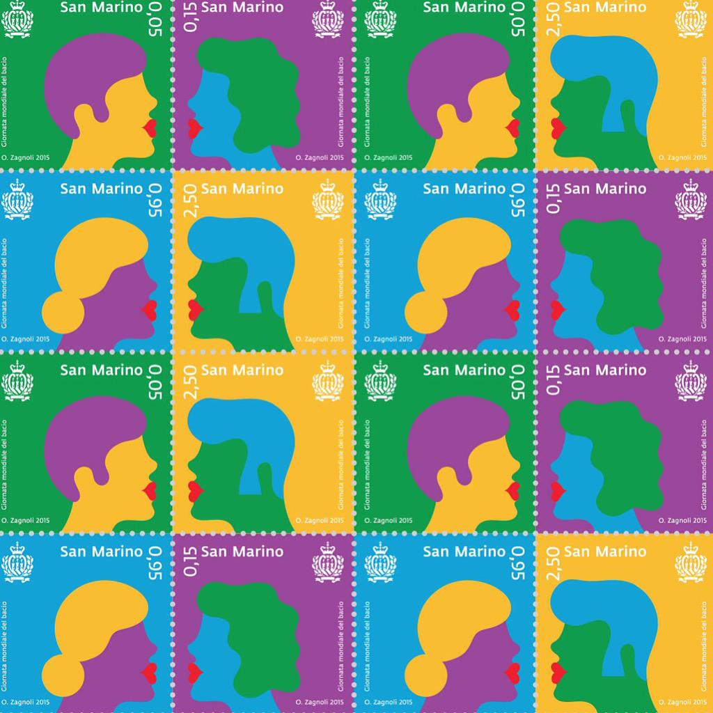 To celebrate the #internationalkissingday, the Philatelic Bureau of San Marino asked me to design four stamps
