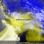 This mornings visible satellite image showing widespread smoke over southwestern B.C. #Vancouver #Victoria http://t.co/3EKhSh0LMf