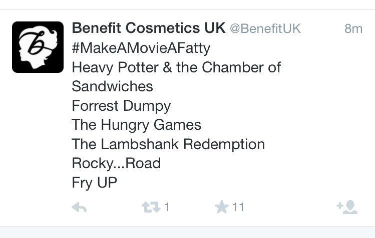 No @BenefitUK, this isn't acceptable. I see you've deleted your FIRST tweet, so you must have realised. #fatshaming http://t.co/FdgQ5QiKuw