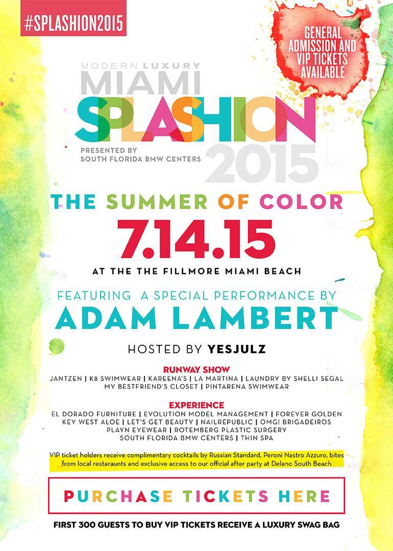 Hey #Miami, @adamlambert is headed to #SouthBeach! See him LIVE at #SPLASHION2015 on July 14 http://t.co/sdf4vlDDZl http://t.co/BZi4hifrkE