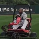VIDEO: @steelers LB James Harrison mows the lawn at practice between workouts http://t.co/Erd9AnH0hB http://t.co/fPkL5tf7bA