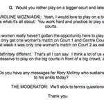 Caroline Wozniacki calls out #Wimbledon for sexist scheduling ... then promptly asked a question about Rory McIlroy http://t.co/8vO9lpoAyy