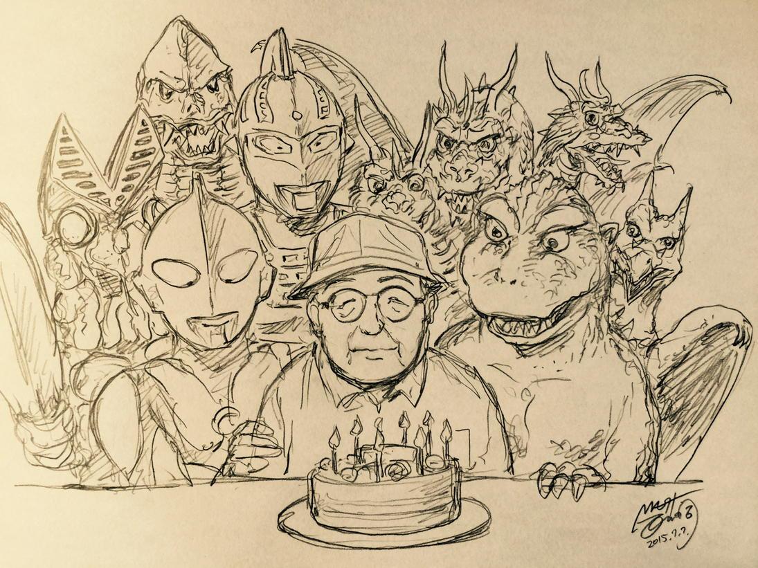 今日7月7日は円谷英二監督のお誕生日、Googleさんまでお祝いしてるのに何も描かないわけにはいくまいということで、徹夜明けのヘロヘロ絵ですが。 http://t.co/n91L1gsSAK