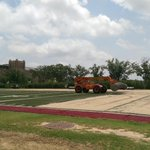 Construction views tearing out the turf practice field to the south of #GFOMS. #Sooners http://t.co/VMbbBTMiVF