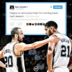 Manu Ginobili says hes joining buddy Tim Duncan in returning to the @Spurs next season... http://t.co/EfhF7sElvC