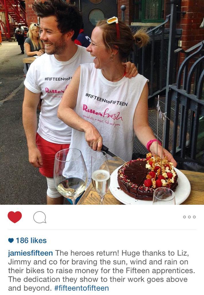 Amazing thank you Liz and Jimmy! Big Love @JamiesFifteen #FifteentoFifteen http://t.co/MRqDiEM0Zs