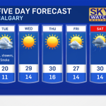 """@CTVdavidspence: Cooler, w/forest fire smoke tomorrow. The @CTVCalgary 5 day forecast.  #yyc #Calgary http://t.co/sZsPtnwUlk"" Hot biking wx"