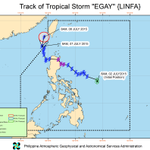 Tropical Storm Egay has left PH Area of Responsibility; all storm warning signals lifted #EgayPH http://t.co/0ZeAPB5bxW