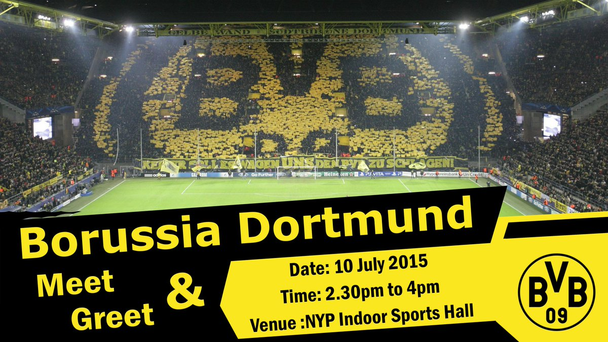 German football team Borussia Dortmund is having a meet and greet at NYP Sports Hall this Fri, 2.30pm! http://t.co/dAevFuDDb9