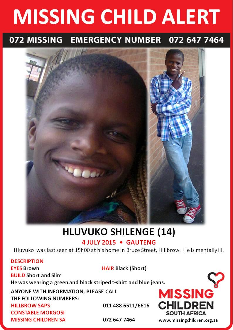 Missing Child Alert.Hluvoko Shlenge went missing from Bruce Street, Hillbrow. Contact 0726477464 if you have seen him http://t.co/fy240OQrrG