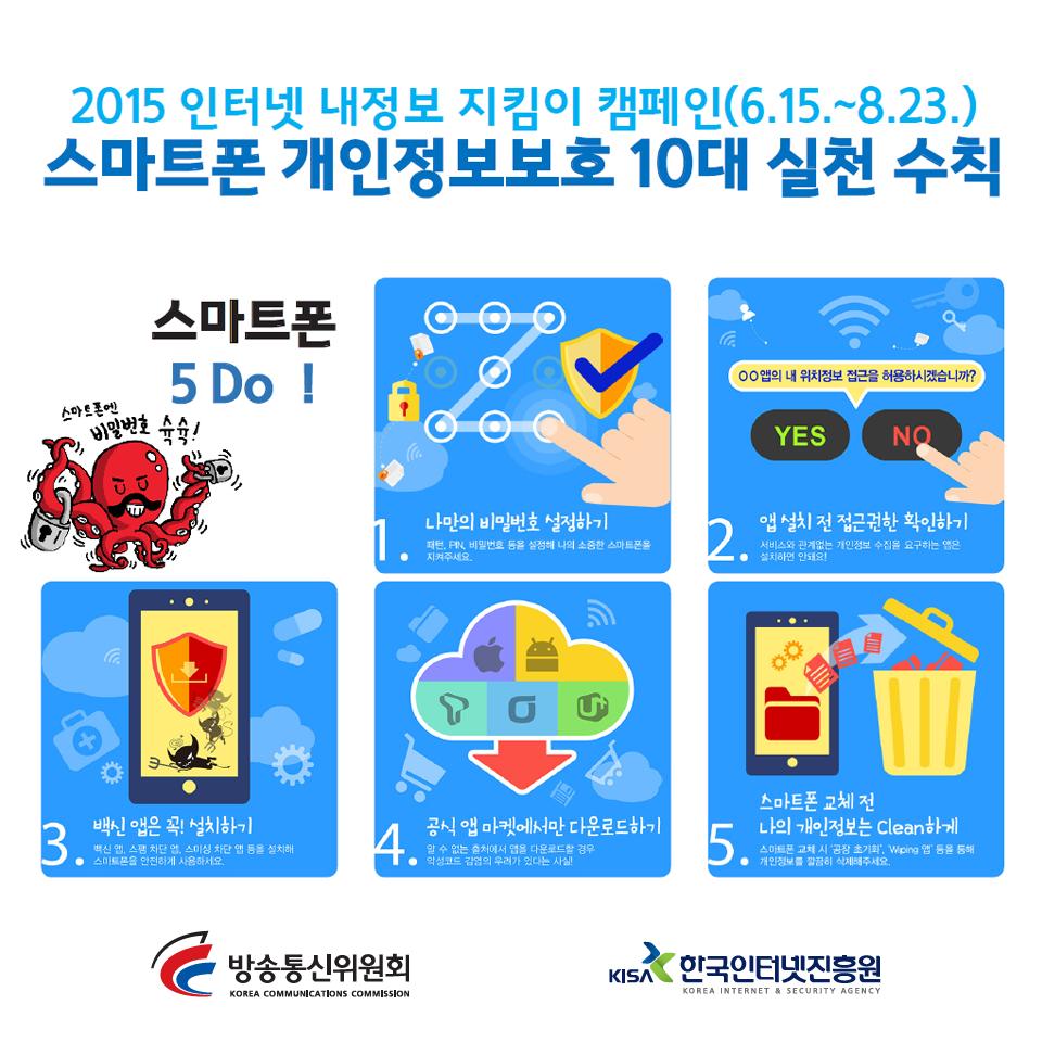 [2015 인터넷 내정보 지킴이 캠페인] 스마트폰 개인정보보호 10대 실천 수칙 <5do,5don't> 꼭 실천하세요~! ^^ http://t.co/5AcvMNwh9X