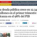 """Rajoy """"Grecia debe 90%PIB.Es como si nosotros debiéramos 900.000 millones"""" Deuda España:98%PIB, 1,05 billones. #tela http://t.co/1CjU9Jscx8"""