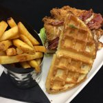 Todays feature | Country fried chicken & waffle $12. Open for lunch! #yegfood #tuesday http://t.co/AkTMj6MikF
