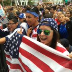 Fans are ready to celebrate the 2015 #USWNT World Cup champs at L.A. Live. @latimes will be Periscoping shortly. http://t.co/tIw8OAswEa