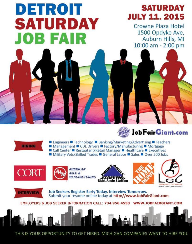 Auburn Hills Job Expo Sat. 7/11 @CrownePlaza 1500 Opdyke 10am-2pm  Details at http://t.co/dxZeYJ1DXC @MiTalentOrg http://t.co/31t2eRUs7y