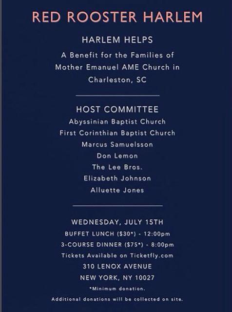 please join us in raising funds for #MotherEmanuelChurch of Charleston. #HarlemHelps http://t.co/jBArT8GjcH http://t.co/gUpSpR5Jtj