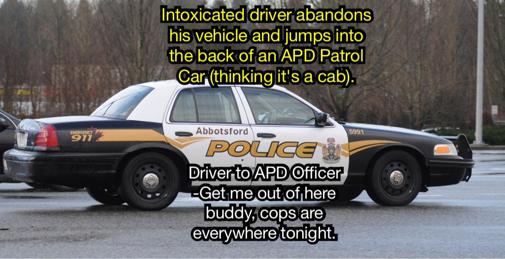 "Drunk driver jumps into #abbypd car thinking it's a cab. ""Get me outta here buddy, cops are everywhere tonight!"" http://t.co/Bi2jhfnWOA"