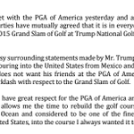 Donald Trump issues new statement on the Grand Slam of Golf not being held at his course in LA http://t.co/9OXAY0OEm2