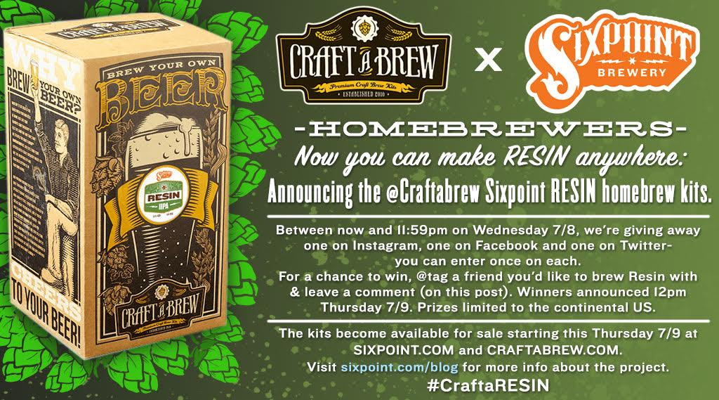 Make your own RESIN? You read that right. We're giving away a @sixpoint x @craftabrew Resin kit: details in the image http://t.co/NN7zuMVw5K