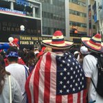 All kinds of Stars and Stripes as #BestFansInTheWorld await 2015 #USWNT #worldcup champs @KNX1070 http://t.co/rdiWoeX9Fj