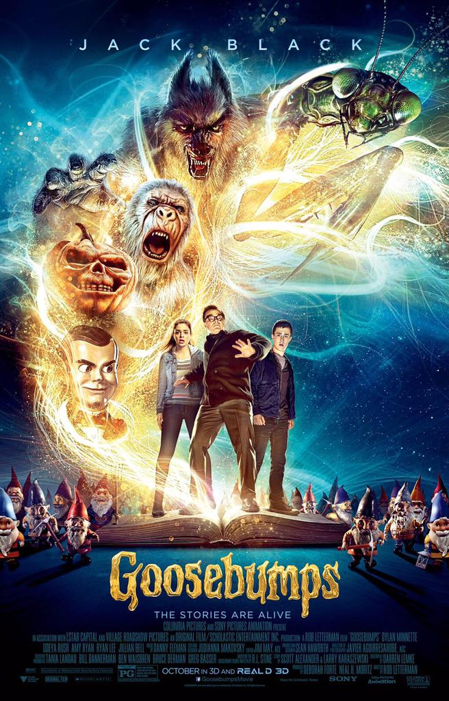 The official poster for Goosebumps is here. Also, the trailer is right around the corner... ERMAHGERD. http://t.co/1czViAnahU