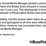 A Paula Deen spokesman tells BuzzFeed News a social media manager is to blame for brownface Twitter pic http://t.co/Xy3D3TFv34