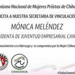 ¡Felicidades @monicamelendezr ! Presidenta Juvenil Empresarial de @CanacoChihuahua @DivaGastelum @RosyPete74 @DKVR09 http://t.co/JT0JAK5Yxw
