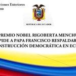 Premio Nobel #RigobertaMenchú pide al Papa respaldar la construcción democrática en #Ecuador http://t.co/mjsf0VCAxu http://t.co/T0GlhYbW0g