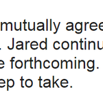 "JUST IN: Subway and Jared Fogle have ""mutually agreed to suspend their relationship,"" @SUBWAY says. http://t.co/0nopIzzaft"