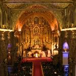 Una vista del interior de la iglesia San Francisco #Quito donde se realiza encuentro con #papaFrancisco http://t.co/y3B9WmqHBG