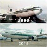 #Histórico comparativo avión Papal de 1985 vs 2015 en visita a #Ecuador. #DC10 y #A330 ambos @Alitalia. http://t.co/wr1qAgrYkB