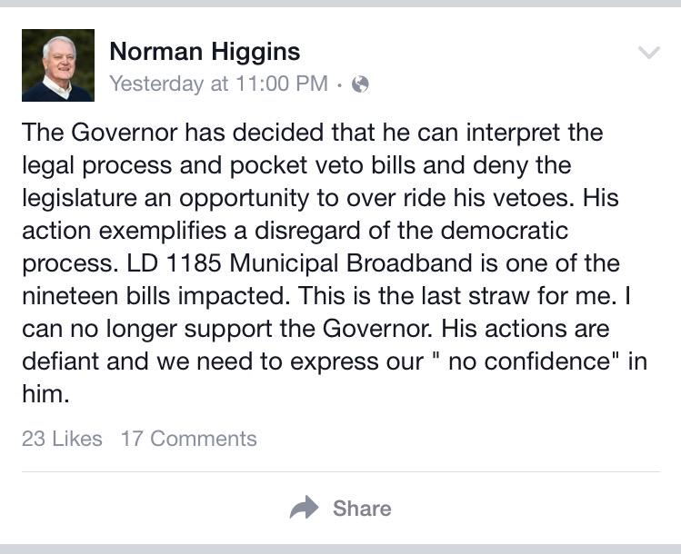 """Rep. Norman Higgins, R-Dover-Foxcroft, says lawmakers must express """"no confidence"""" in LePage. #mepolitics http://t.co/jbIk3tad7j"""