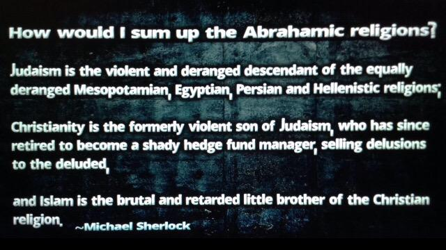 How would I sum up Abrahamic religions? (@sherlockmichael) http://t.co/fcRIcLqsvT