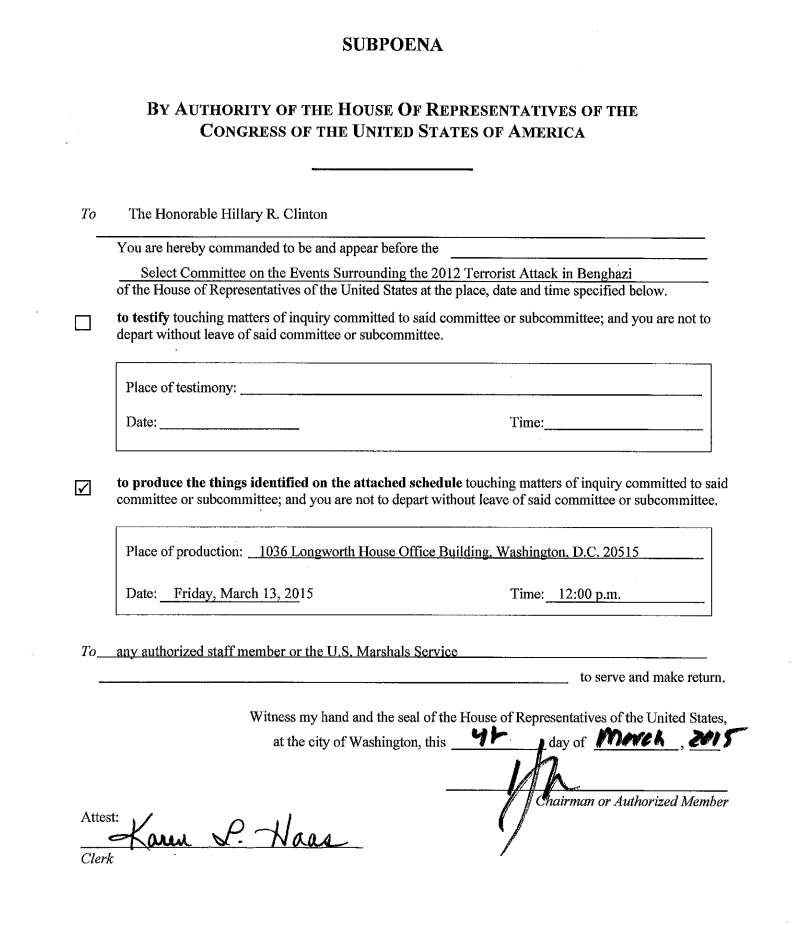 "#BREAKING: Here's the subpoena Hillary Clinton told @CNN she ""never had."" It's dated 3/4/15. http://t.co/gp1E32PkTz http://t.co/7BaZ8IKdAg"
