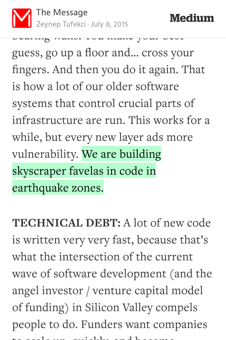 """We are building skyscraper favelas in code in earthquake zones."" — @zeynep https://t.co/4ThBcZr4Wk http://t.co/2xP2qJw7NJ"