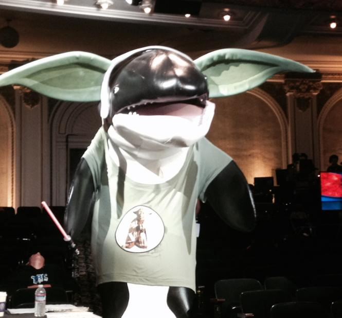 A shot of the fugitive SeaWorld orca from Conan's first San Diego show. #ConanCon http://t.co/0VFEVDdfmb