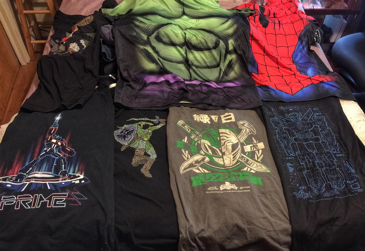 Calvin Lee (@mayhemstudios): Few of my t-shirts I'll be wearing at San Diego Comic Con this week! Mostly @Lootcrate Tees. #sdcc #lootcrate