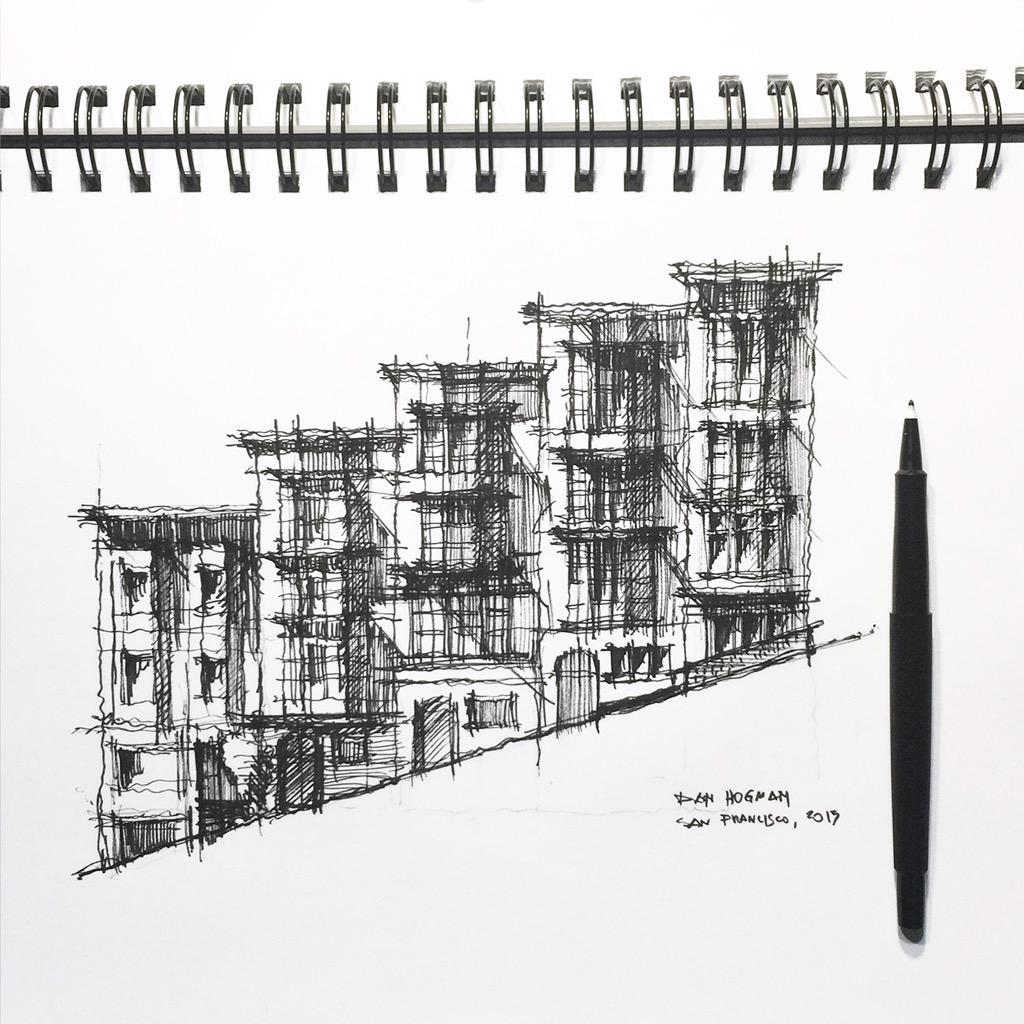 Steep street in San Francisco #sanfrancisco #architecture #sketch http://t.co/5qCa4qn0MX