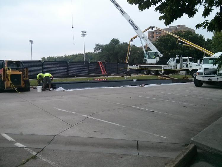 Sorry if construction around campus causes some problems. Just putting a 40 foot HD TV in Welch Stadium. #how2ESU http://t.co/A8EwhPwbRh