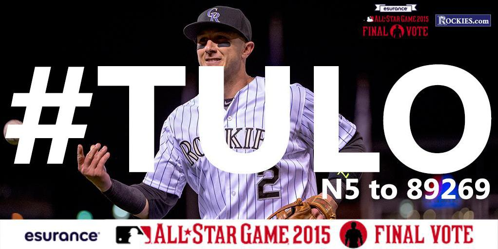 Use #Tulo or text N5 to 89269 until 2PM to get #Tulo to the ASG! http://t.co/uFfcqLq8jT