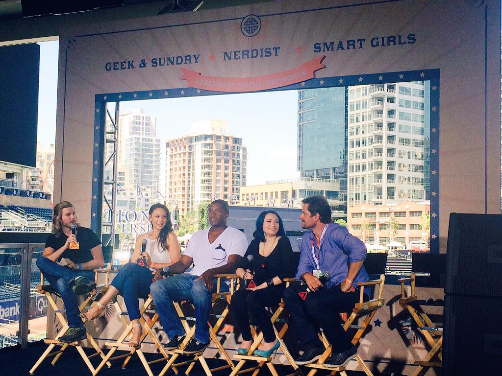 The cast of #DarkMatter talking about space zombies at the @NerdistDotCom #Conival! #SDCC http://t.co/M0s0F8ux6o