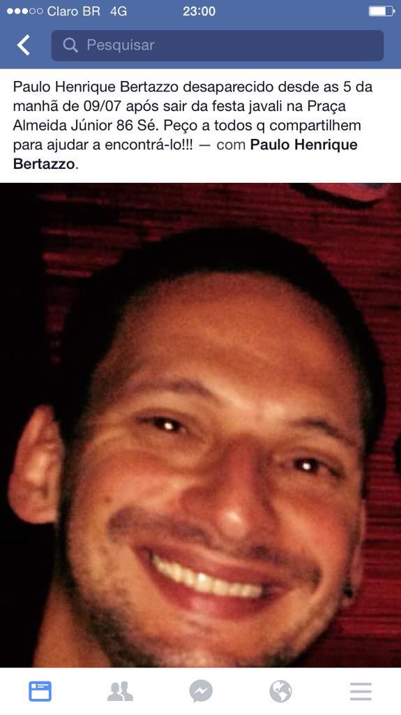 Posso pedir RT de vocês pra algo importante? Esse é o Paulo, que sumiu ontem. Quem tiver info por favor ajude! http://t.co/gQzBbrXO7d